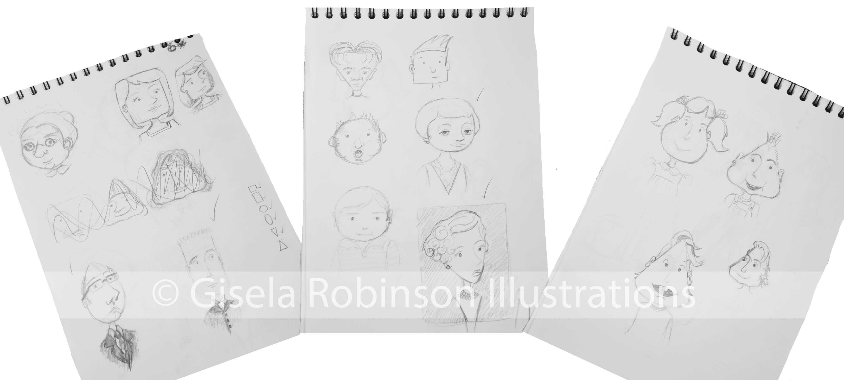 geometric faces sketches